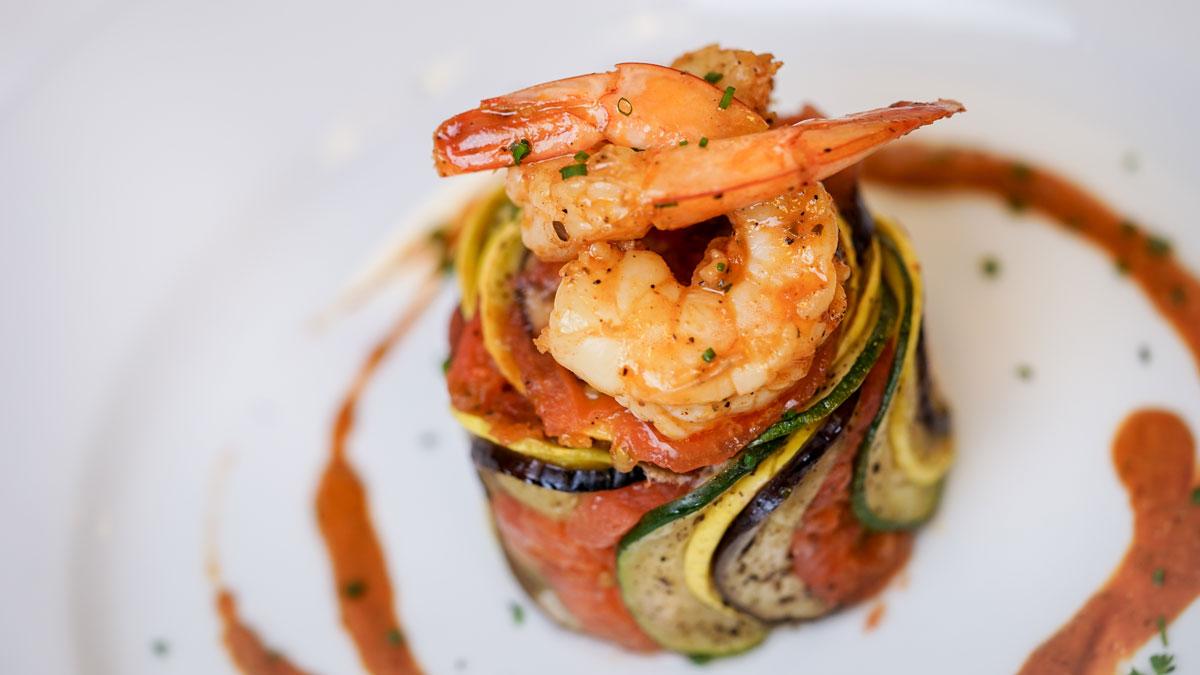 Shrimp ratatouille byaldi