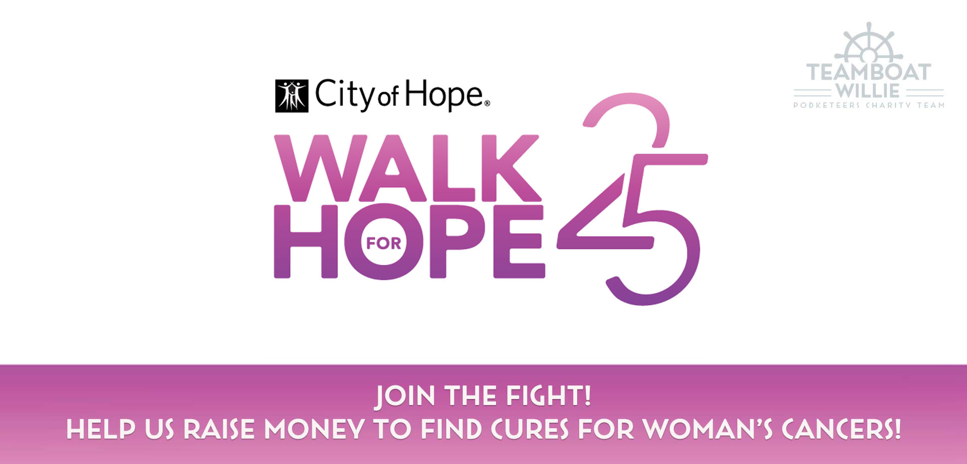 Announcement for Teamboat Willie's participation in City of Hope's Walk For Hope charity virtual walk